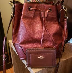 Coach Large Drawstring Mickie with matching wallet
